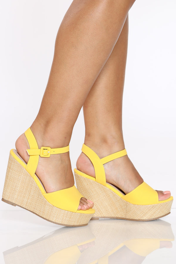 Women's Ankle Strap Wedge - Yellow-VIM.COM
