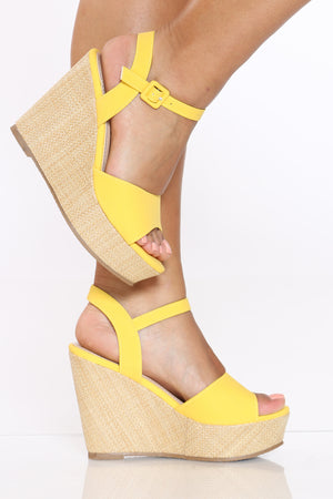 Women's Ankle Strap Wedge - Yellow