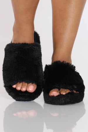 Women's Fur Sandal - Black-VIM.COM