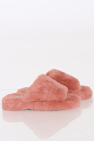 Women's Faux Fur Sandal - Blush
