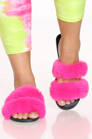 Women's 2 Bands Fur Slide - Hot Pink-VIM.COM