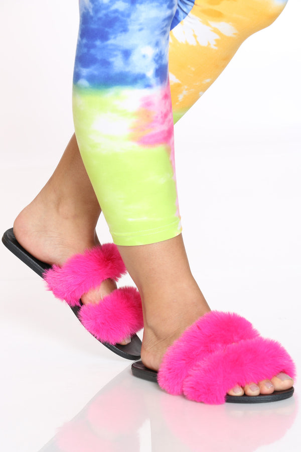 Women's 2 Bands Faux Fur Slide - Hot Pink