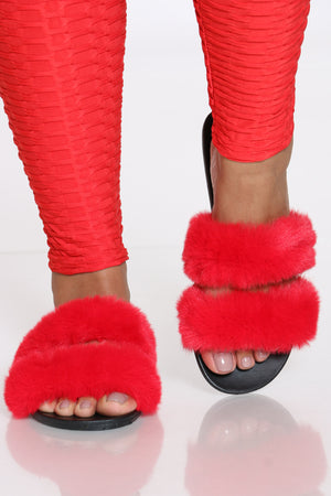 Women's 2 Bands Fur Slide - Red-VIM.COM