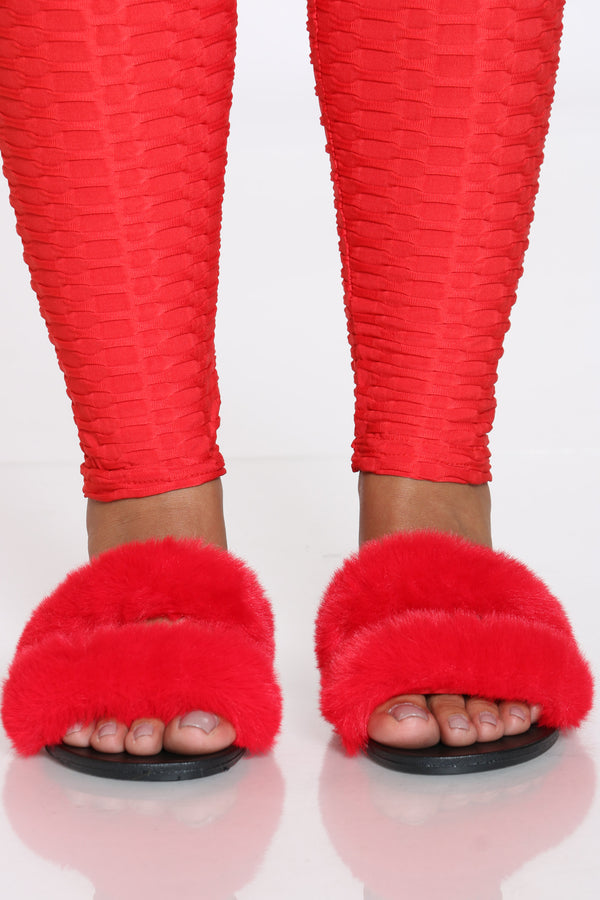 Women's 2 Bands Faux Fur Slide - Red