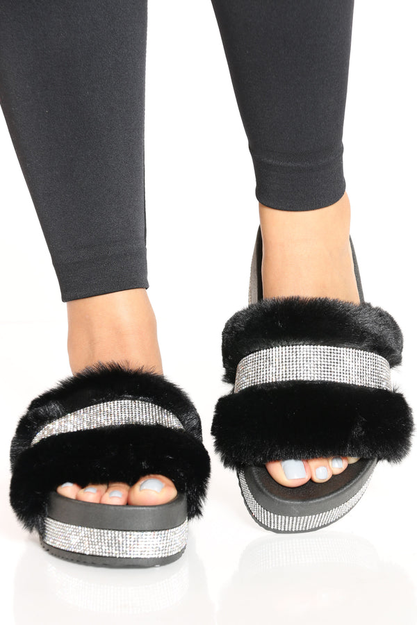 Women's Rhinestone Faux Fur Sandal - Black