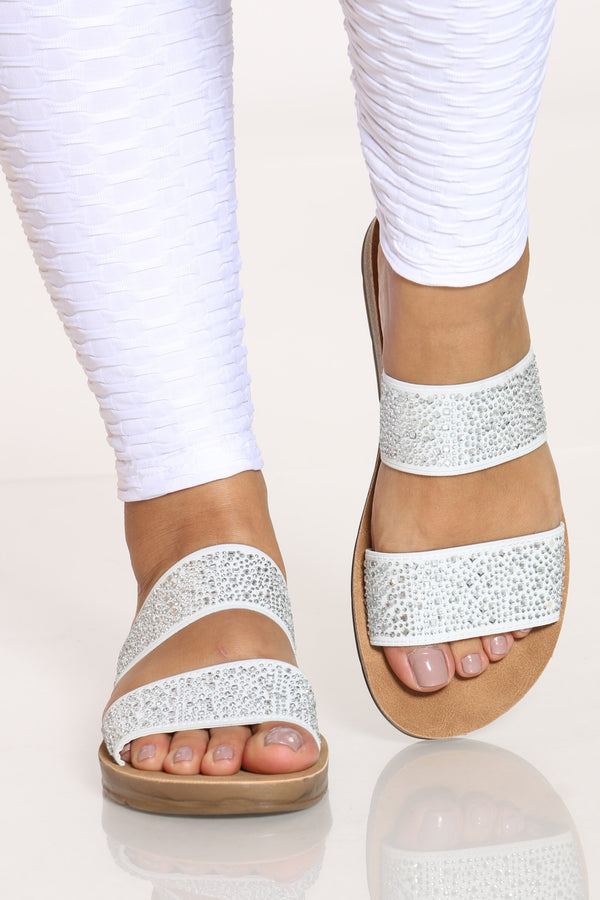 Women's 2 Band Rhinestone Slide - White-VIM.COM