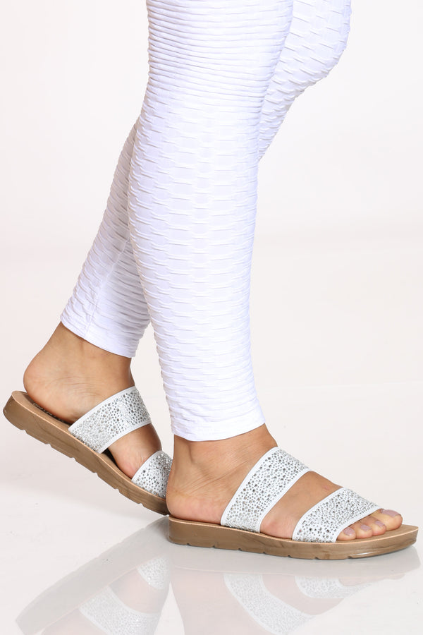 Women's 2 Band Rhinestone Slide - White