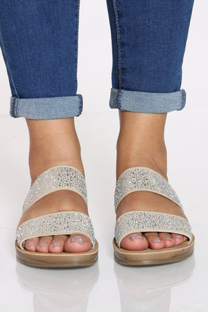 Women's 2 Band Rhinestone Slide - Beige