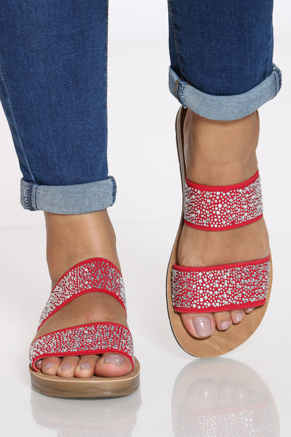 Women's 2 Band Rhinestone Slide - Red-VIM.COM