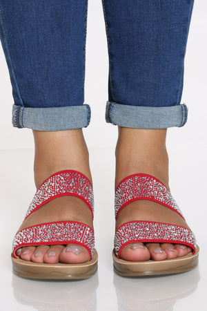 Women's 2 Band Rhinestone Slide - Red