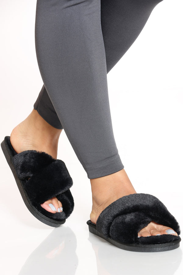 Women's Criss Cross Fur Slide - Black-VIM.COM