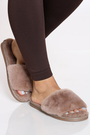 Women's Fur Slide - Dusty Rose-VIM.COM