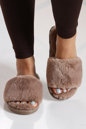 Women's Faux Fur Slide - Dusty Rose