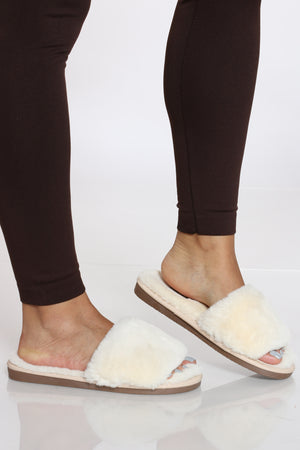 Women's Fur Slide - White-VIM.COM
