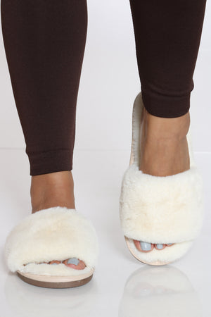 Women's Faux Fur Slide - White