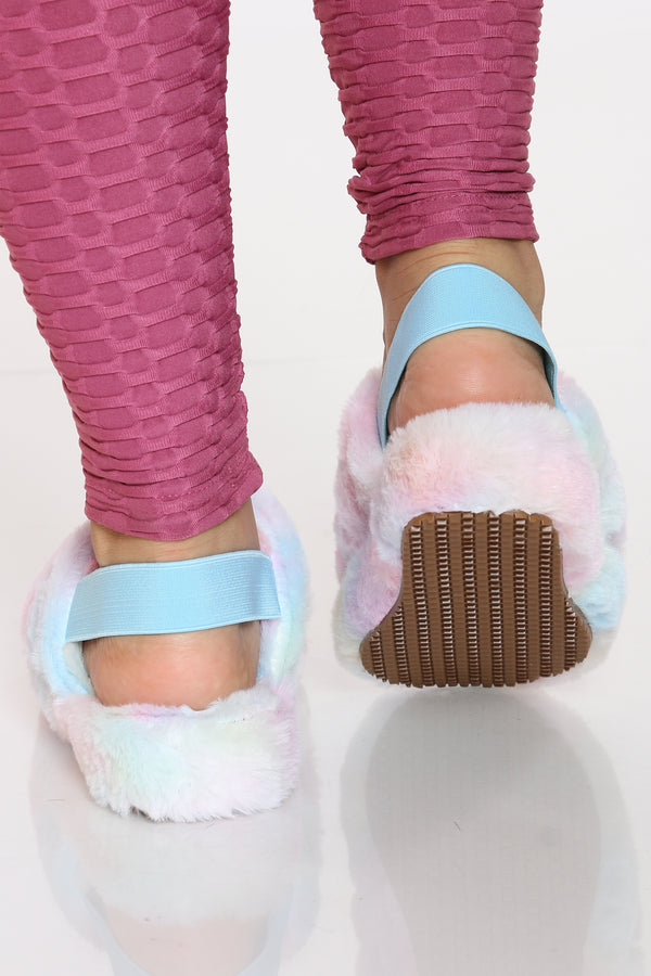 Women's Sling Back Faux Fur Sandal - Blue Multi