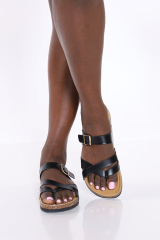Women's One Gold Buckle Slip On Sandal - Black-VIM.COM