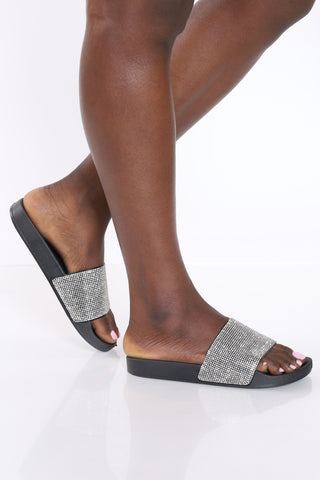 Women's Rhinestone Slide - Black-VIM.COM