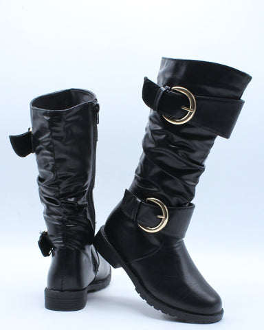 Girl'S 2 Gold Buckle Riding Boots (Available In 2 Colors)