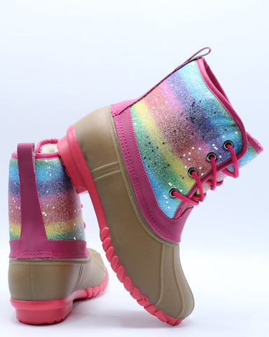 Girls Rainbow Star Fur Lining Duck Boot (Pre School/Grade School) - Pink Tan-VIM.COM