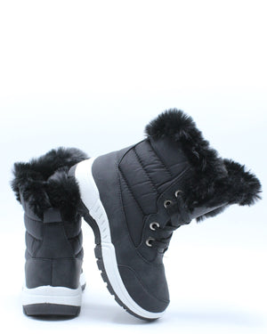 Girls Fur Lining Sports Boot (Pre School/Grade School) - Black-VIM.COM
