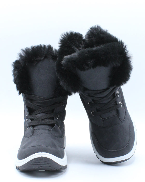 Girls Faux Fur Lining Sports Boot (Pre School/Grade School) - Black
