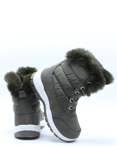 Girls Fur Lining Sports Boot (Pre School/Grade School) - Olive-VIM.COM