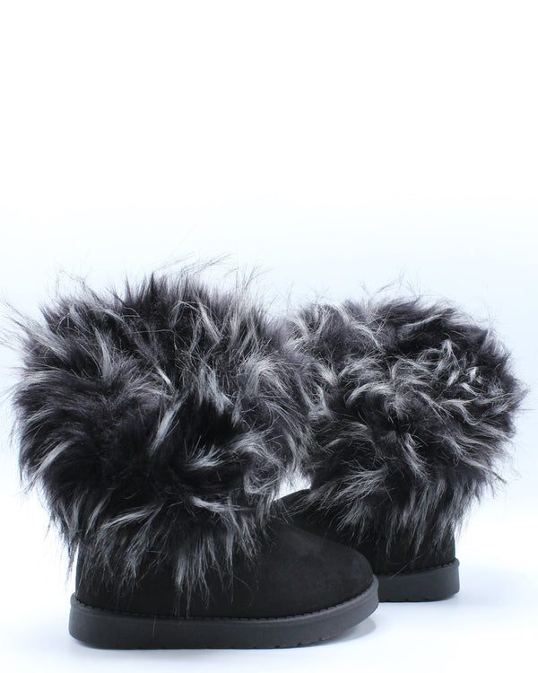 Girls Fur Winter Kids Boot (Pre School/Grade School) - Black