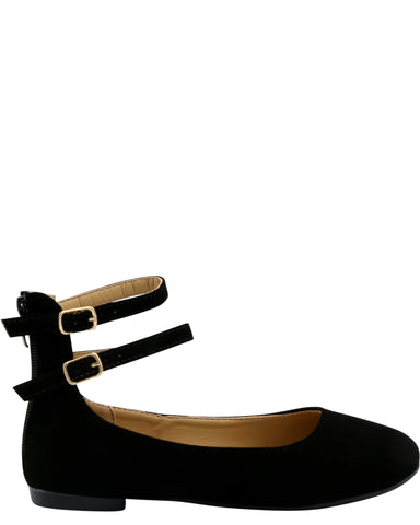 GIRLS ZIPPER 2 STRAPS FLATS