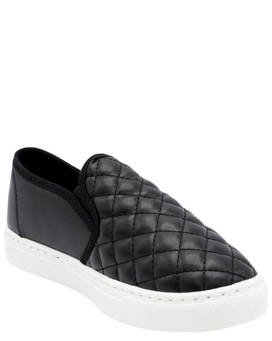 Girl's Quilted Comfort Slip-On Fashion Sneaker - Black