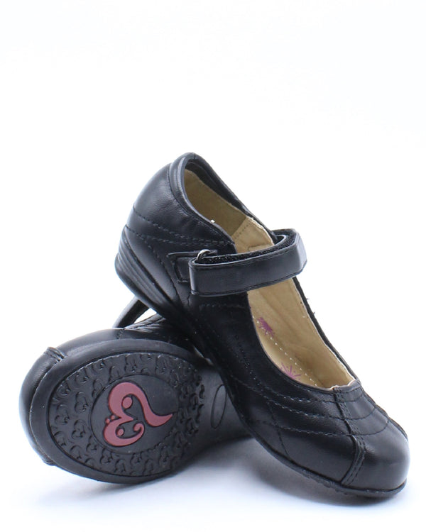Kid's Stitch Velcro School Shoe (Pre School/Grade School) - Black