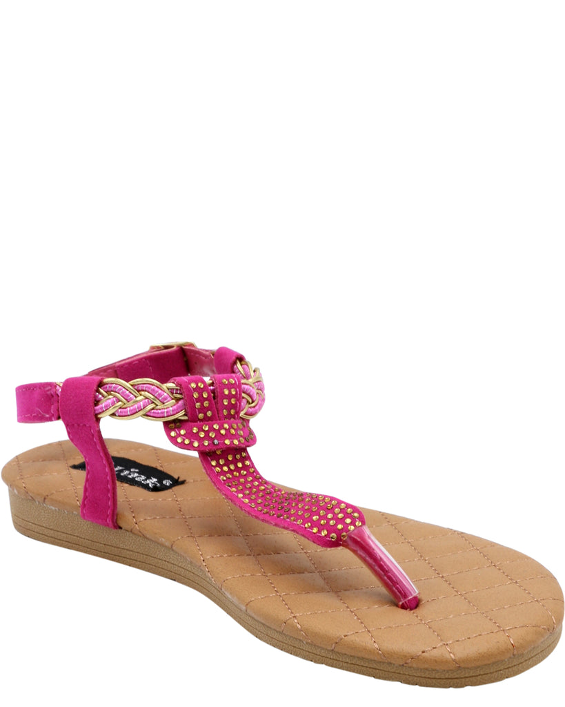 VIM Girl'S Pasty Stones T-Strap Sandals (Available In 2 Colors) - Vim.com
