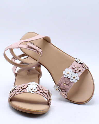 Girls Flower Low Block Heel Sandal (Pre School/Grade School) - Blush-VIM.COM