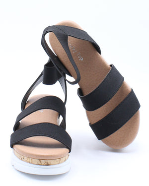 Kid's 3 Elastic Band Sandal (Pre School/Grade School) - Black