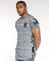 VIM Side Moto Camo Trim Chest Patch Tee - Grey - Vim.com