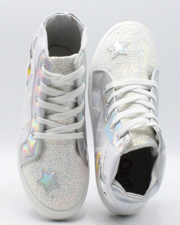 VIM VIXEN Girls Glitter Unicorn Hi Top Sneaker (Pre School And Grade School) - White - Vim.com