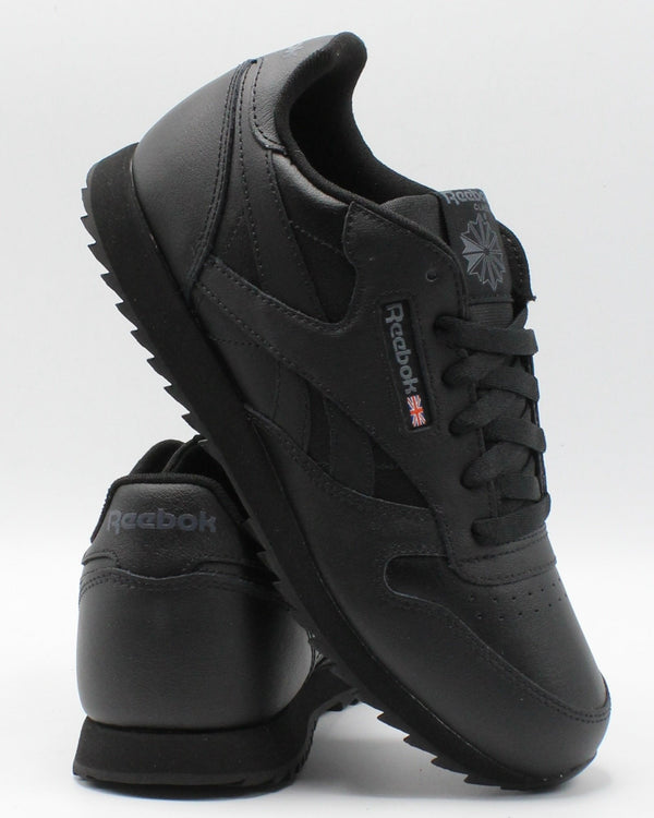 REEBOK-Classic Leather Ripple Sneaker (Grade School) - Black-VIM.COM