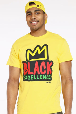 Men's Black Excellence Crown Tee - Yellow