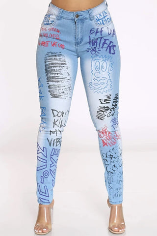 Women's Graffiti Print Skinny Jean - Light Blue-VIM.COM