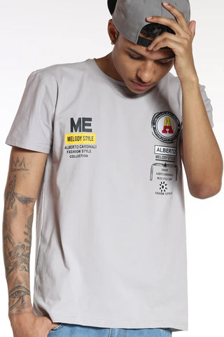 Men's A  Alberto Embroidered Patch Tee - Dove Grey