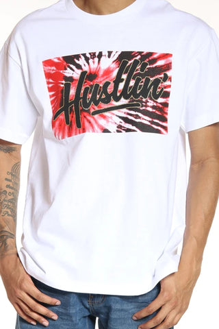 Men's Hustlin Tie Dye Logo Tee - White