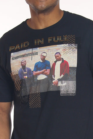 Men's Paid In Full Rhinestone Tee - Black