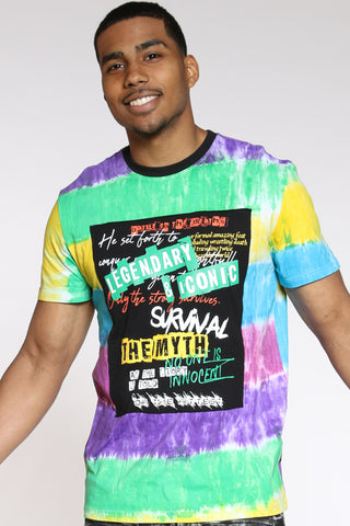 Men's Tie Dye Legendary Patch Tee - Yellow-VIM.COM
