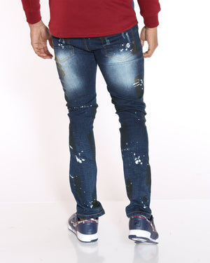 VIM Cliff Knee Ripped & Moto Insert Jean - Dark Blue - Vim.com