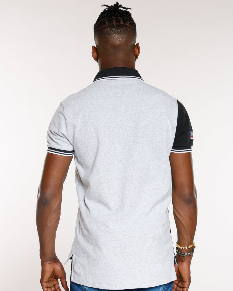 U.S. POLO ASSN. Colorblock Diagonal Split Polo Shirt - Grey - Vim.com