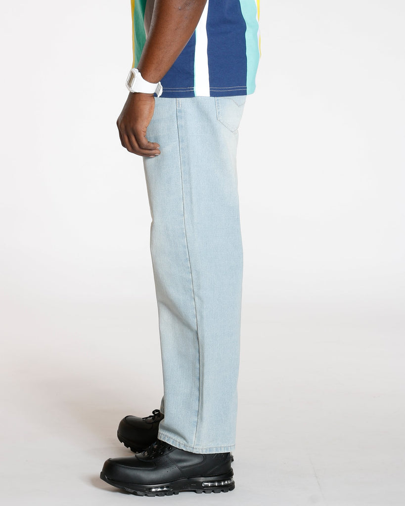 VIM Relaxed Fit Embroidery Pocket Baggy Jean - Light Blue - Vim.com