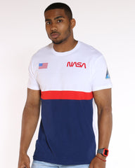 VIM Nasa Color Block And Flag Printed Tee - White - Vim.com