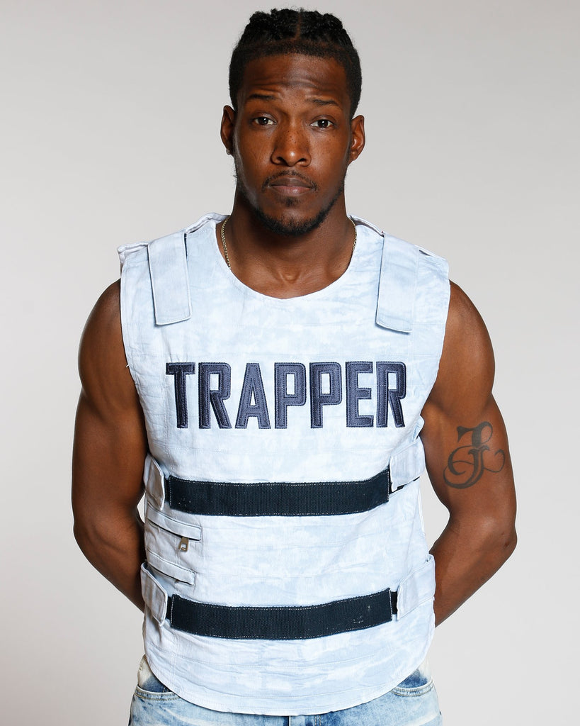VIM Trapper Denim Military Vest - Light Wash - Vim.com