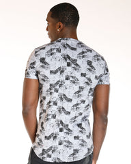 VIM All Over Print Shoulder Trim Tee - Grey - Vim.com