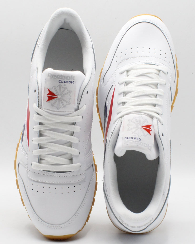 REEBOK Men'S Classic Leather Vector - White Red Blue - Vim.com